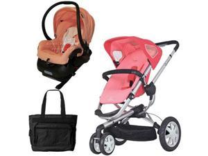 Quinny CV155BFXKT2 Buzz 3 Travel System in Pink Blush with Diaper Bag