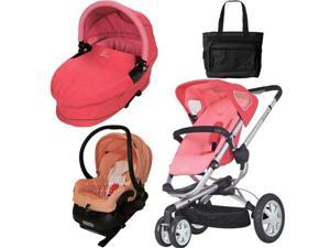 Quinny CV155BFXKT3 Buzz 3 Travel System and Dreami Bassinet in Pink Blush with Diaper Bag