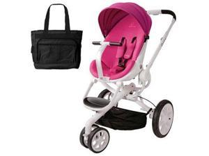 Quinny CV078BFU Moodd Stroller in Pink Passion With a Diaper Bag