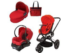 Quinny CV078BHR Moodd Stroller Travel System and Dreami Bassinet in Red Envy with Diaper Bag