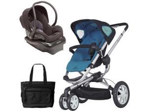 Quinny Buzz 3 Travel System in Blue Black  with Diaper Bag