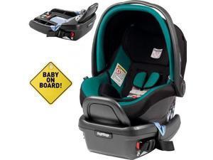 Peg Perego - Primo Viaggio 4-35 Car Seat w  Extra Base and Baby on Board Sign - Aquamarine