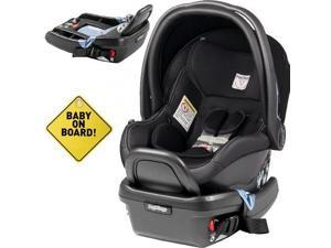 Peg Perego - Primo Viaggio 4-35 Car Seat w  Extra Base and Baby on Board Sign - Licorice - Black Eco-Leather