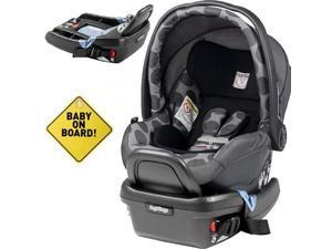 Peg Perego - Primo Viaggio 4-35 Car Seat w  Extra Base and Baby on Board Sign - Pois Grey
