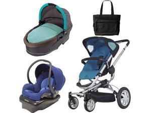 Quinny Buzz 4 Travel System and Bassinet in Blue with Diaper Bag
