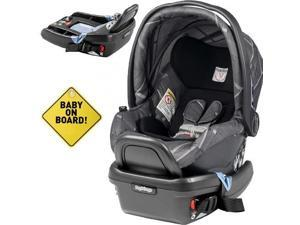 Peg Perego - Primo Viaggio 4-35 Car Seat  w  Extra Base and Baby on Board Sign - Portraits Grey  Special Edition