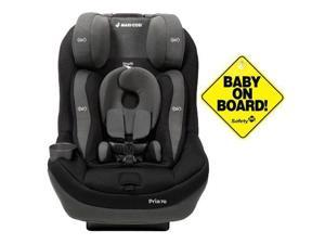 Maxi-Cosi CC134APU - Pria 70 Tiny Fit Convertible Car Seat w Baby on Board Sign - Total Black