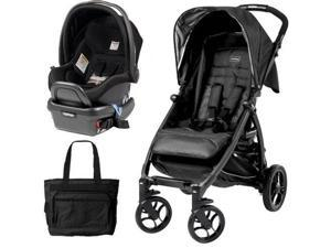 Peg Perego - Booklet Stroller Travel System with Diaper Bag - Onyx