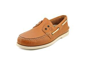 Sperry Top Sider A/O 2-Eye Slip On Mens Size 7.5 Tan Leather Boat Shoes UK 6.5