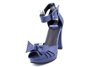T.U.K. Ankle Starlet Vegan Heels Women US 6 Blue Peep Toe Heels