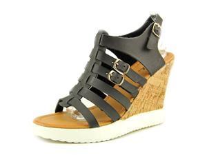 Qupid Happa 03 Women US 7 Black Wedge Heel