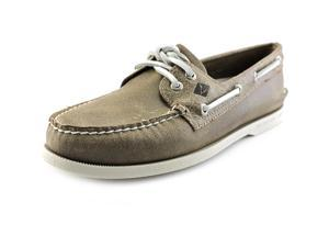 Sperry Top Sider A/O 2-Eye White Cap Men US 11 Brown Boat Shoe