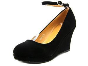 Top Moda Soap-35 Women US 7.5 Black Wedge Heel