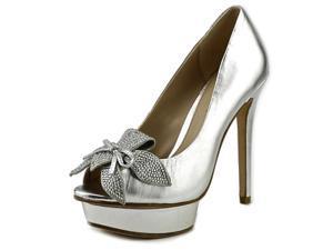 Pelle Moda Mamet Women US 5 Silver Peep Toe Platform Heel