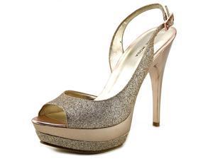 Pelle Moda Gleam Women US 9 Gold Peep Toe Platform Heel