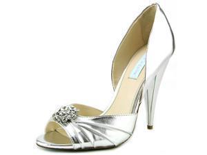 Betsey Johnson Gia Women US 8.5 Silver Peep Toe Heels