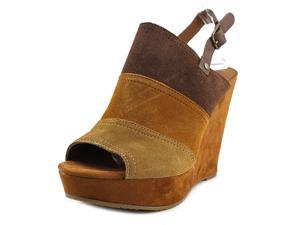 Lucky Brand Frescala Women US 8 Brown Peep Toe Wedge Heel