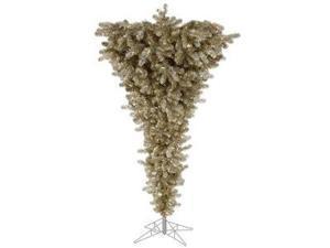 "Vickerman 18520 - 7.5' x 60"" Champagne Upside Down 500 Clear Lights Christmas Tree (A107776)"