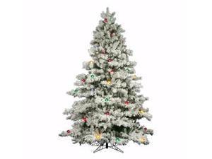 "Vickerman 01524 - 7.5' x 68"" Flocked Alaskan 800 Multi-color Lights Christmas Tree (A806378)"