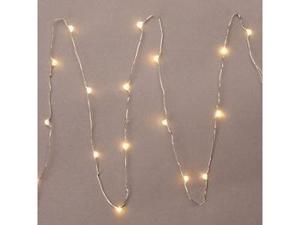 "Gerson 36903 - 36"" 18 Light Silver Wire Warm White Battery Operated LED Micro Miniature Christmas Light String Set with Timer"