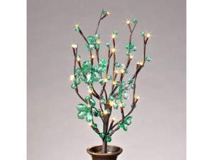 "Gerson 37889 - 20"" Green Acrylic Petal Flower Battery Operated LED Lighted Branch with Timer (30 Warm White Lights)"