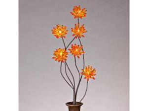 "Gerson 37897 - 31"" Amber Acrylic Chrysanthemum Battery Operated LED Lighted Branch with Timer (6 Warm White Lights)"