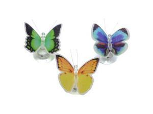 "Gerson 177591 - 3.25"" Battery Operated Acrylic Butterfly Fiber Optic with Suction Cup (3 pack) (FIBER OPTIC ACRYLIC BUTTERFLY W/SUCTION CUP 3PK)"