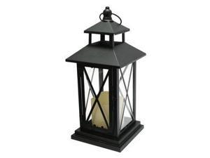 """Gerson 40438 - 11.4"""" x 5.1"""" Black Metal Single Criss Cross Lantern Melted Edge LED Ivory Resin Candle Light with Timer"""