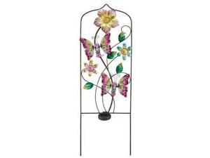 """Regal Art & Gift 10641 - 36"""" x 12"""" Pink Butterfly Garden Trellis Stake (Color Changing) Solar LED Light"""