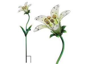 """Regal Art & Gift 10838 - 33"""" x 9"""" White Tiger Lily Garden Stake Solar LED Light"""