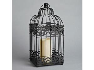 "Gerson 40432 - 7.1"" x 15"" Black Metal Birdcage Square Lantern Bisque Candle Wavy Edge Battery Operated LED Resin Candle Light with Timer"