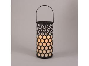 "Gerson 43020 - 5"" x 10.5"" Black Metal Honeycomb Design Lantern Bisque Wavy Edge Battery Operated LED Resin Candle Light with Timer"