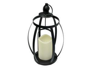 """Gerson 43021 - 12"""" x 7"""" Black Metal Open Frame Lantern Wavy Edge Battery Operated LED Bisque Resin Candle Light with Timer"""