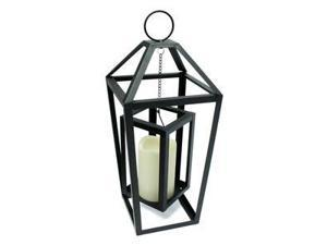 """Gerson 43026 - 15.7"""" x 6.75"""" Black Metal Frame-In-Frame Lantern Wavy Edge Battery Operated LED Bisque Resin Candle Light with Timer"""