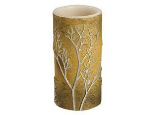"Gerson 42494 - 3"" x 6"" Metallic Gold Raised Branch Straight Edge Battery Operated LED Wax Pillar Candle Light with Timer"