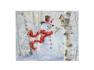 "RAZ Imports 63250 - 24"" x 18"" x 1"" - ""Snowman & Chickadee"" Battery Operated LED Lighted Canvas (Batteries Not Included)"