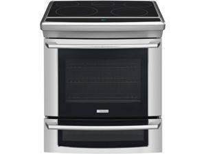 """30"""" Slide-in Electric Range with 5 Radiant Elements, 4.2 cu. ft. Self-Cleaning Convection Oven, Wave-Touch Electronic Controls, Meat Probe and Cobalt Blue Interior: Stainless Steel"""