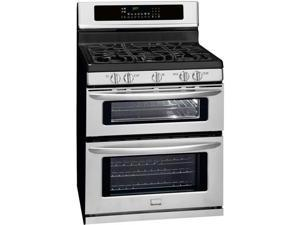 "30"" standing Double Oven Gas Range with 5 Sealed Burners, Quick Boil Burner, Center Burner, 3.5 cu. ft. Main Oven Capacity, True Convection, Express-Select Controls and 2.3 cu. ft. Auxiliary Oven: Rea"