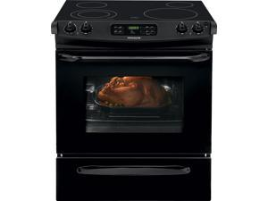 "30"" Slide-in Smoothtop Electric Range with 4 Heating Elements, 4.6 cu. ft. Self-Clean Oven, Delay Clean, Delay Start, Timed Cook Option and Auto Oven Shut-Off: Black"