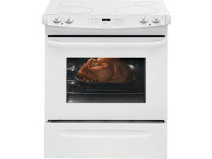 "30"" Slide-in Smoothtop Electric Range with 4 Heating Elements, 4.6 cu. ft. Self-Clean Oven, Delay Clean, Delay Start, Timed Cook Option and Auto Oven Shut-Off: White"