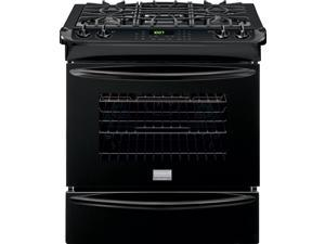"30"" Slide-in Gas Range with 4 Sealed Burners, 4.5 cu. ft. True Convection Oven, Self-Clean, Auto Shut-Off, Quick Preheat, Temperature Probe and Storage Drawer: Black"