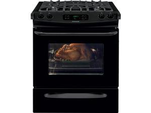 "30"" Slide-in Gas Range with 4 Sealed Burners, 4.5 cu. ft. Self-Clean Oven, Delay Clean Option, Delay Start, Auto Oven Shut-Off and Storage Drawer: Black"