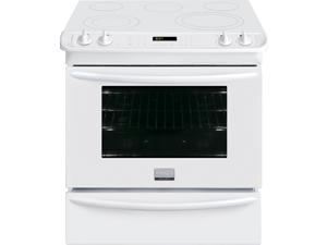 "30"" Slide-in Smoothtop Electric Range with 5 Heating Elements, Warming Zone, 4.6 cu. ft. True Convection Oven, Steam Clean, Quick Preheat and Storage Drawer: White"