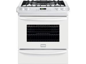 "30"" Slide-in Gas Range with 4 Sealed Burners, 4.5 cu. ft. True Convection Oven, Self-Clean, Auto Shut-Off, Quick Preheat, Temperature Probe and Storage Drawer: White"