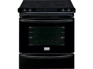 "30"" Slide-in Smoothtop Electric Range with 5 Heating Elements, Warming Zone, 4.6 cu. ft. True Convection Oven, Steam Clean, Quick Preheat and Storage Drawer: Black"