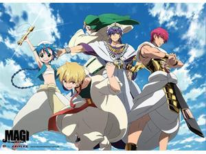 Magi The Labyrinth of Magic: Group Wall Scroll [WIDE] ~31X44 inches GE Animation