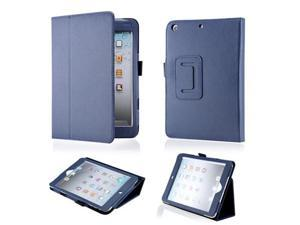 Dark Blue Magnetic PU Leather Folio Stand Case Cover with Stylus Holder for iPad Mini and iPad Mini with Retina Display - OEM