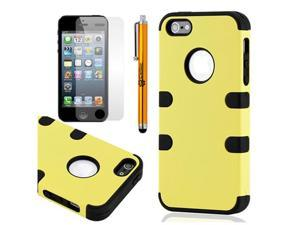 3 Piece Yellow Black Hybrid Hard PC Soft Silicone Back Case Cover for iPhone 5 + Stylus Pen and Screen Protector