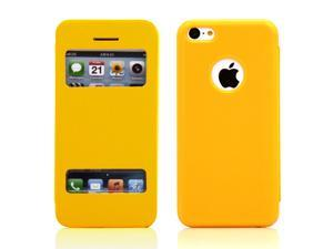 Compatible with Apple® iPhone® 5C Orange PU Leather Slim Flip View Case Smart Cover Back Cover