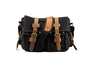 Men's Vintage Canvas and Leather Satchel School Military Shoulder Bag Messenger - Black
